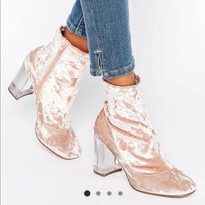 ASOS pink velvet booties